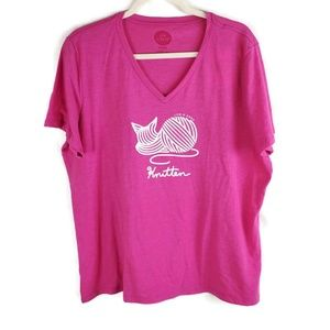 "Life Is Good Shirt Size XL Pink ""Knitten"" Graphic"